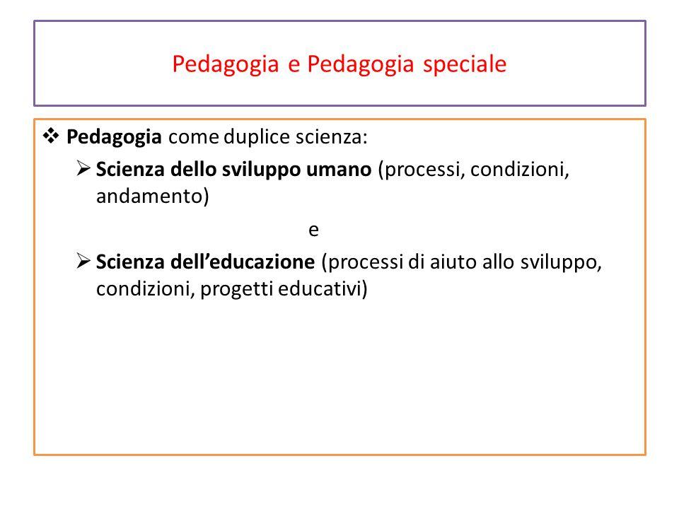 Pedagogia e Pedagogia speciale  Pedagogia come duplice scienza:  Scienza dello sviluppo umano (processi, condizioni, andamento) e  Scienza dell'edu