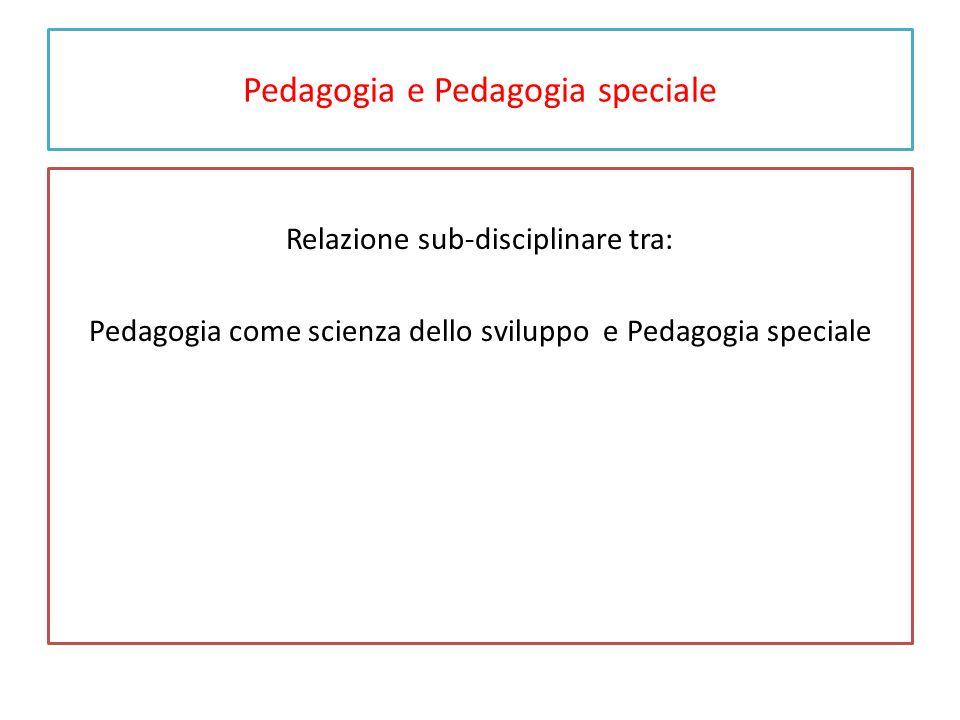 Pedagogia e Pedagogia speciale Pedagogia speciale come: o Scienza dello sviluppo e di aiuto allo sviluppo in condizioni tipiche, per rispondere a bisogni educativi speciali.