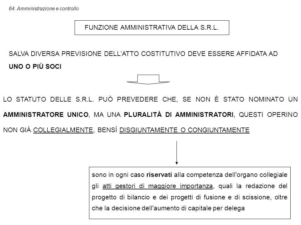 64.Amministrazione e controllo FUNZIONE AMMINISTRATIVA DELLA S.R.L.