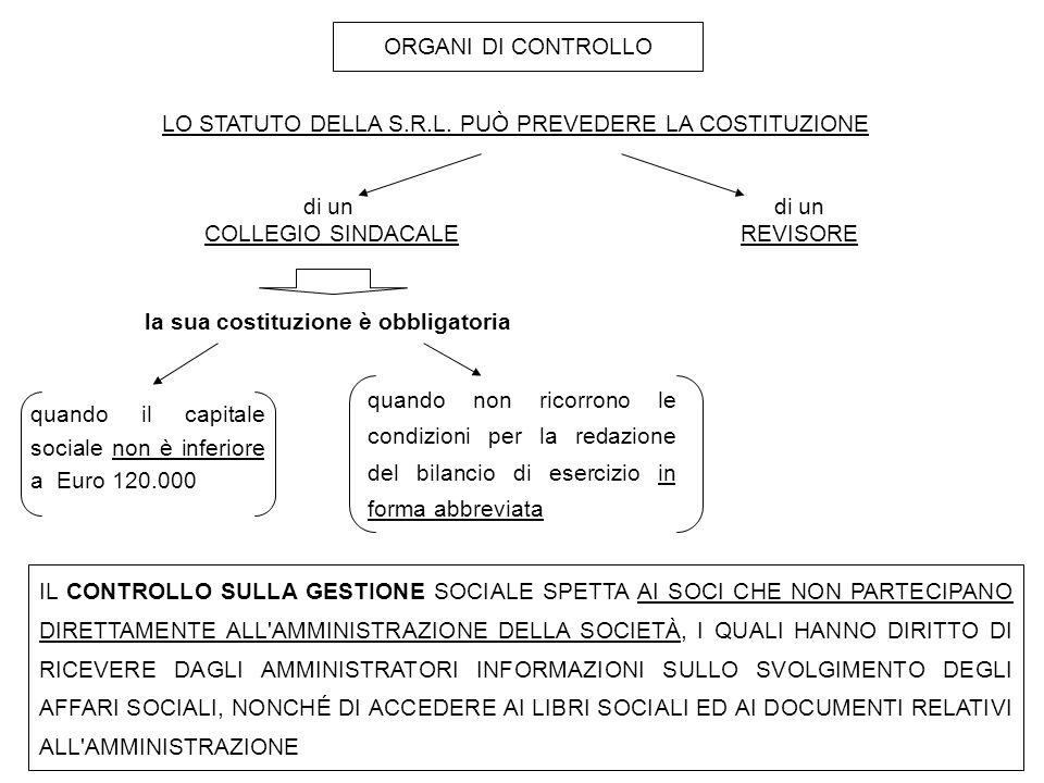 ORGANI DI CONTROLLO LO STATUTO DELLA S.R.L.