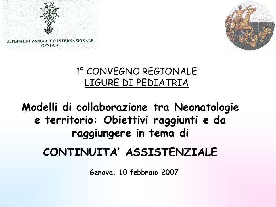 1° CONVEGNO REGIONALE LIGURE DI PEDIATRIA Modelli di collaborazione tra Neonatologie e territorio: Obiettivi raggiunti e da raggiungere in tema di CON