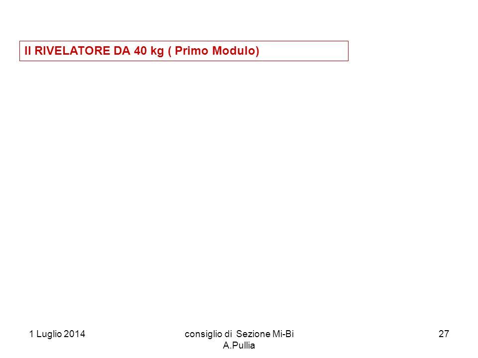 1 Luglio 2014consiglio di Sezione Mi-Bi A.Pullia 27 Il RIVELATORE DA 40 kg ( Primo Modulo)