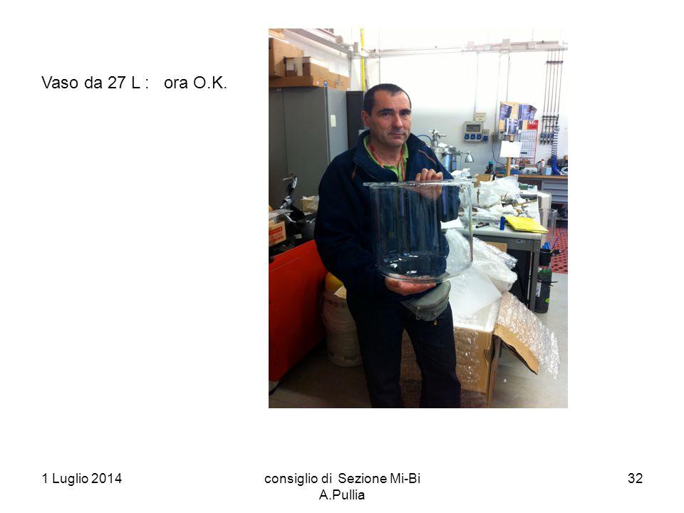 1 Luglio 2014consiglio di Sezione Mi-Bi A.Pullia 32 Vaso da 27 L : ora O.K.