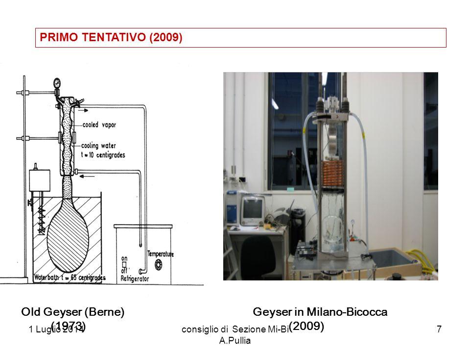 1 Luglio 2014consiglio di Sezione Mi-Bi A.Pullia 7 Geyser in Milano-Bicocca (2009) Old Geyser (Berne) (1973) PRIMO TENTATIVO (2009)