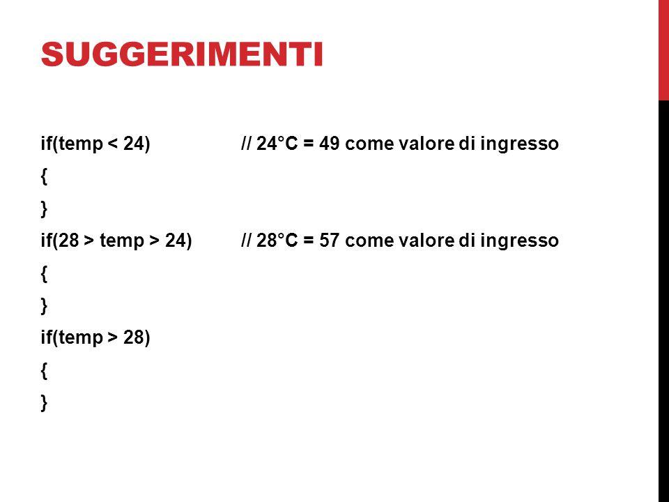 SUGGERIMENTI if(temp < 24)// 24°C = 49 come valore di ingresso { } if(28 > temp > 24)// 28°C = 57 come valore di ingresso { } if(temp > 28) { }