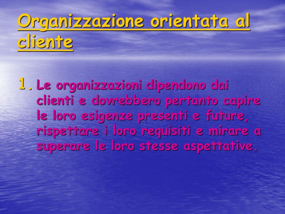 Organizzazione orientata al cliente 1. Le organizzazioni dipendono dai clienti e dovrebbero pertanto capire le loro esigenze presenti e future, rispet