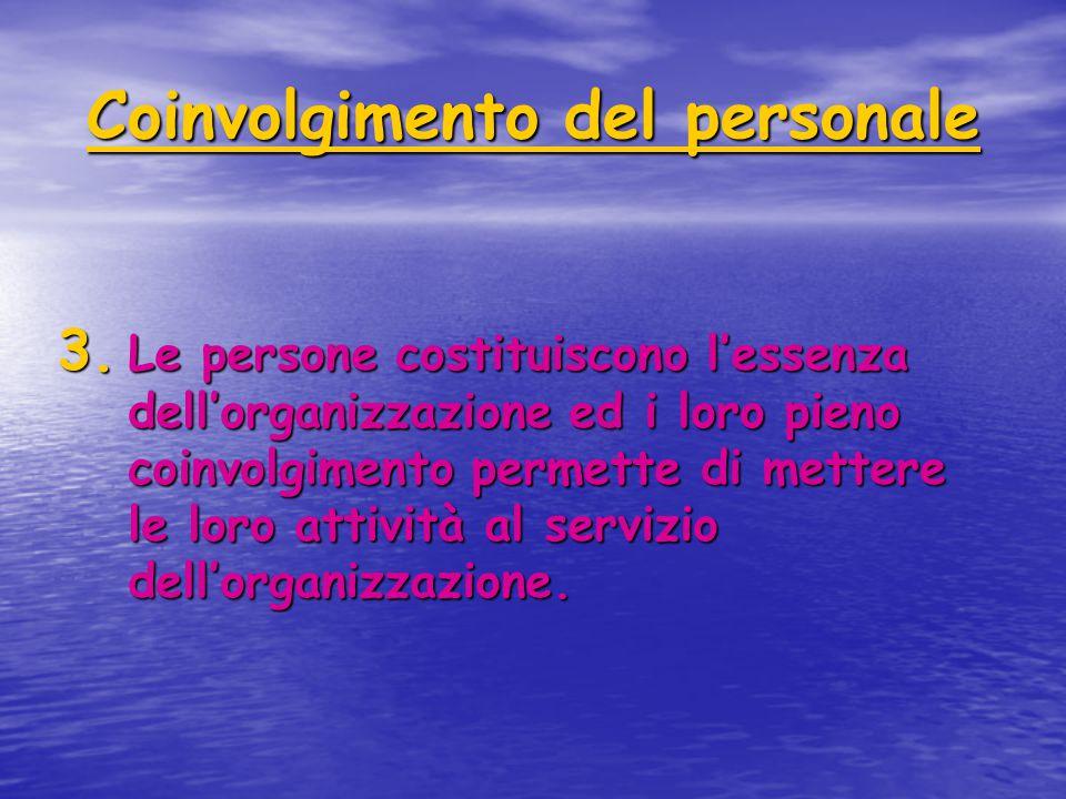 Coinvolgimento del personale 3. Le persone costituiscono l'essenza dell'organizzazione ed i loro pieno coinvolgimento permette di mettere le loro atti