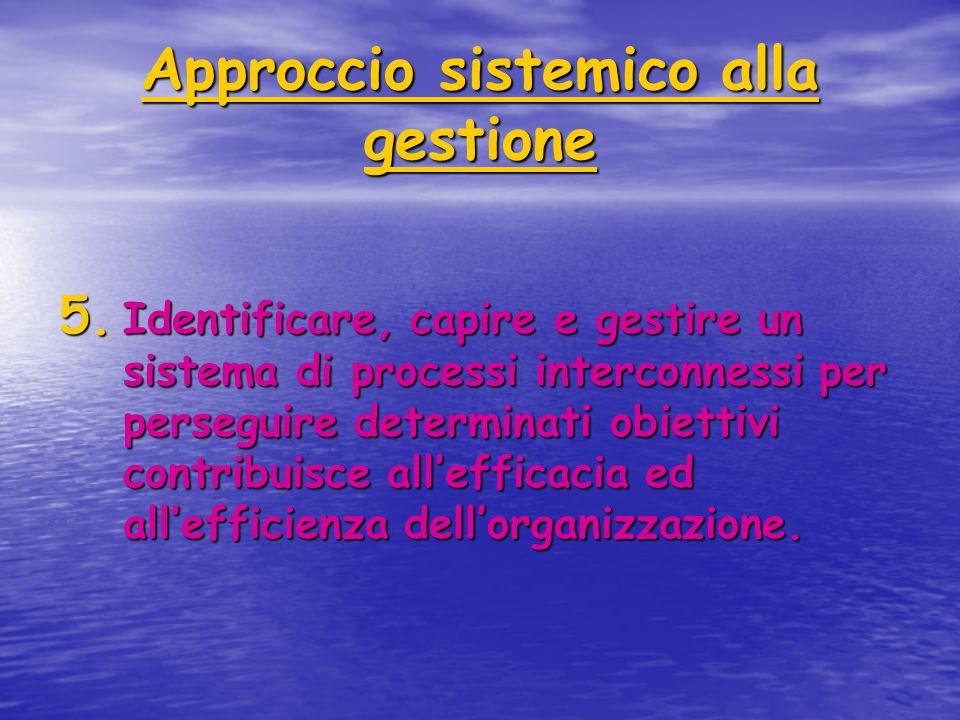 Approccio sistemico alla gestione 5. Identificare, capire e gestire un sistema di processi interconnessi per perseguire determinati obiettivi contribu
