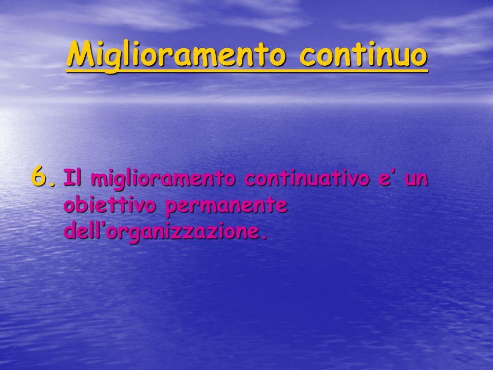 Miglioramento continuo 6. Il miglioramento continuativo e' un obiettivo permanente dell'organizzazione.