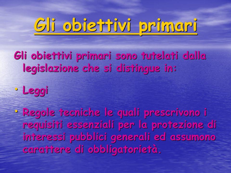 Gli obiettivi primari Gli obiettivi primari sono tutelati dalla legislazione che si distingue in: Leggi Leggi Regole tecniche le quali prescrivono i r