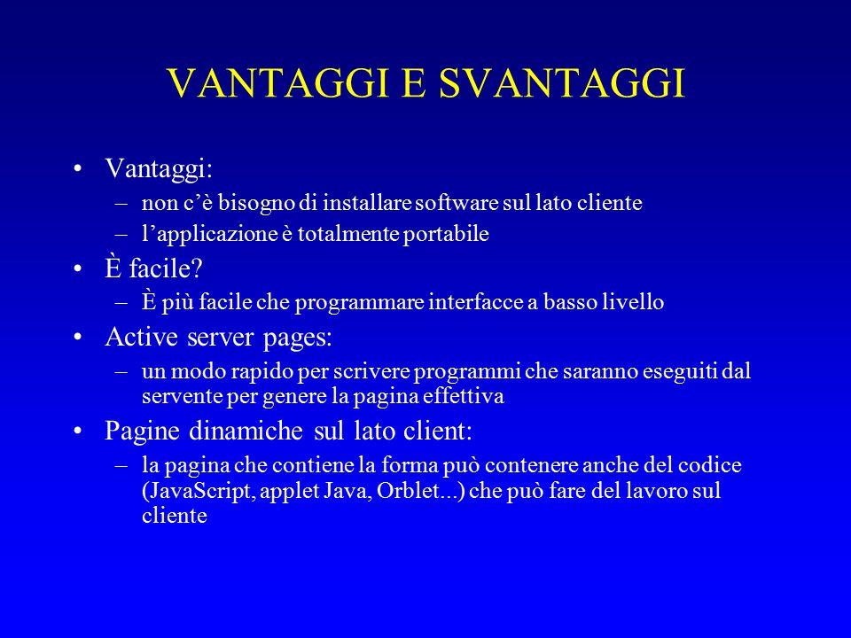 VANTAGGI E SVANTAGGI Vantaggi: –non c'è bisogno di installare software sul lato cliente –l'applicazione è totalmente portabile È facile.