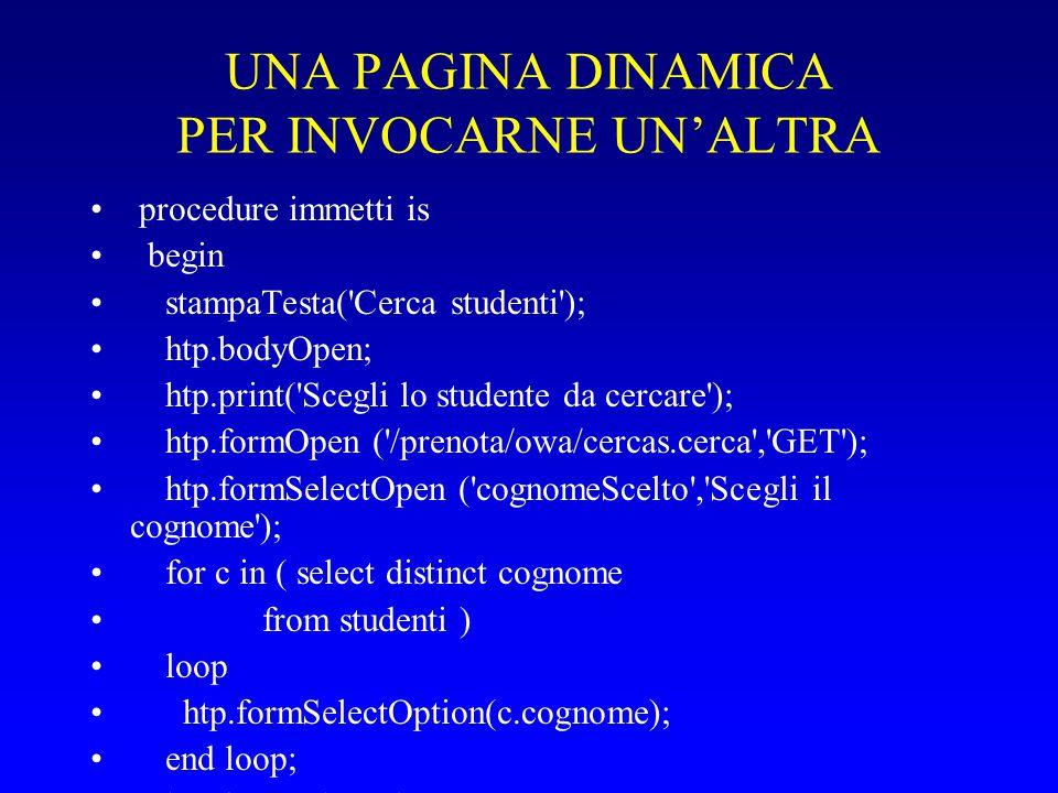 UNA PAGINA DINAMICA PER INVOCARNE UN'ALTRA procedure immetti is begin stampaTesta( Cerca studenti ); htp.bodyOpen; htp.print( Scegli lo studente da cercare ); htp.formOpen ( /prenota/owa/cercas.cerca , GET ); htp.formSelectOpen ( cognomeScelto , Scegli il cognome ); for c in ( select distinct cognome from studenti ) loop htp.formSelectOption(c.cognome); end loop; htp.formSelectClose; htp.br; htp.prn( Oppure inserisci i primi caratteri del cognome ); htp.formText ( cognomeBattuto ); htp.formSubmit (cvalue => Spedisci ); htp.formClose; htp.bodyClose; htp.htmlClose; end immetti;