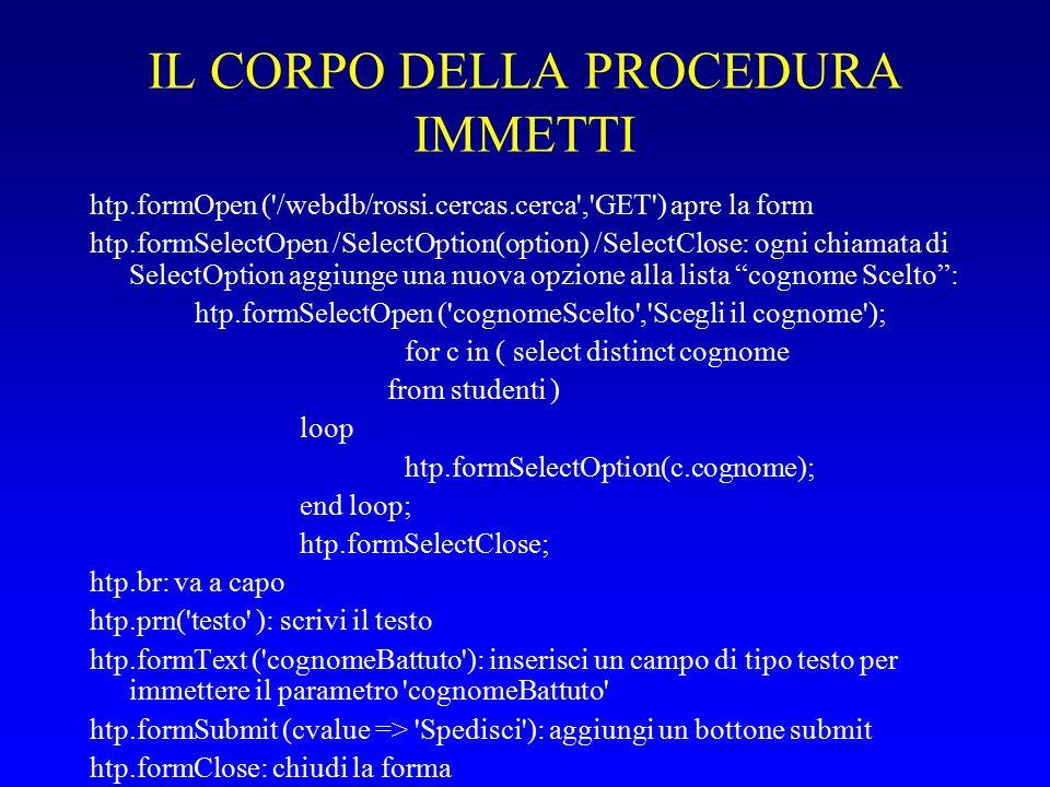 IL CORPO DELLA PROCEDURA IMMETTI htp.formOpen ( /webdb/rossi.cercas.cerca , GET ) apre la form htp.formSelectOpen /SelectOption(option) /SelectClose: ogni chiamata di SelectOption aggiunge una nuova opzione alla lista cognome Scelto : htp.formSelectOpen ( cognomeScelto , Scegli il cognome ); for c in ( select distinct cognome from studenti ) loop htp.formSelectOption(c.cognome); end loop; htp.formSelectClose; htp.br: va a capo htp.prn( testo ): scrivi il testo htp.formText ( cognomeBattuto ): inserisci un campo di tipo testo per immettere il parametro cognomeBattuto htp.formSubmit (cvalue => Spedisci ): aggiungi un bottone submit htp.formClose: chiudi la forma