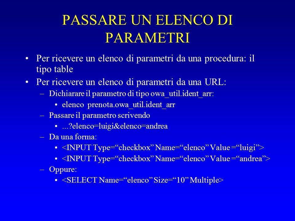 PASSARE UN ELENCO DI PARAMETRI Per ricevere un elenco di parametri da una procedura: il tipo table Per ricevere un elenco di parametri da una URL: –Dichiarare il parametro di tipo owa_util.ident_arr: elenco prenota.owa_util.ident_arr –Passare il parametro scrivendo...?elenco=luigi&elenco=andrea –Da una forma: –Oppure: