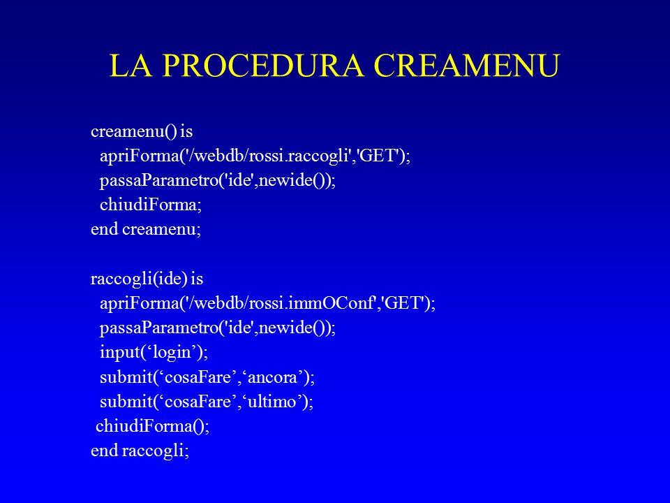 LA PROCEDURA CREAMENU creamenu() is apriForma( /webdb/rossi.raccogli , GET ); passaParametro( ide ,newide()); chiudiForma; end creamenu; raccogli(ide) is apriForma( /webdb/rossi.immOConf , GET ); passaParametro( ide ,newide()); input('login'); submit('cosaFare','ancora'); submit('cosaFare','ultimo'); chiudiForma(); end raccogli;