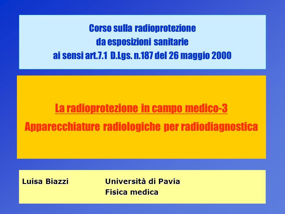 1 Corso sulla radioprotezione da esposizioni sanitarie ai sensi art.7.1 D.Lgs. n.187 del 26 maggio 2000 La radioprotezione in campo medico-3 Apparecch
