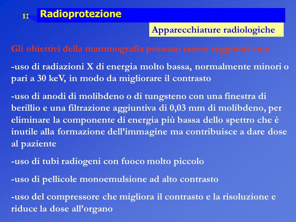 11 Radioprotezione Apparecchiature radiologiche Gli obiettivi della mammografia possono essere raggiunti con: -uso di radiazioni X di energia molto ba