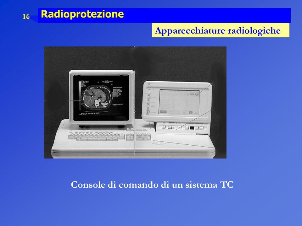 16 Radioprotezione Apparecchiature radiologiche Console di comando di un sistema TC
