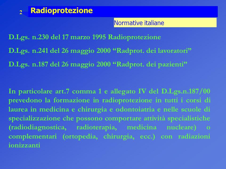"""2 Radioprotezione Normative italiane D.Lgs. n.230 del 17 marzo 1995 Radioprotezione D.Lgs. n.241 del 26 maggio 2000 """"Radprot. dei lavoratori"""" D.Lgs. n"""
