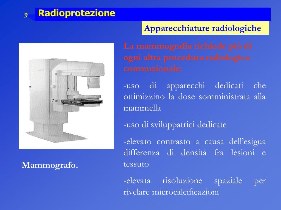 9 Radioprotezione Apparecchiature radiologiche Mammografo. La mammografia richiede più di ogni altra procedura radiologica convenzionale: -uso di appa