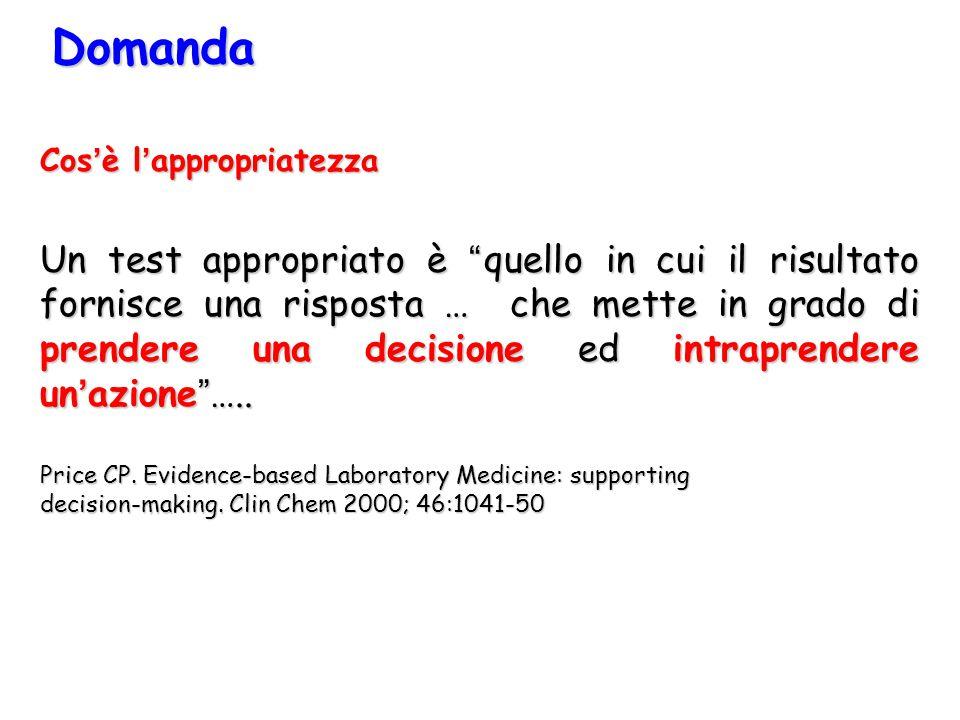 """Cos'è l'appropriatezza Un test appropriato è """"quello in cui il risultato fornisce una risposta … che mette in grado di prendere una decisione ed intra"""