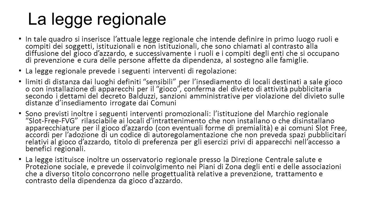 La legge regionale In tale quadro si inserisce l'attuale legge regionale che intende definire in primo luogo ruoli e compiti dei soggetti, istituziona