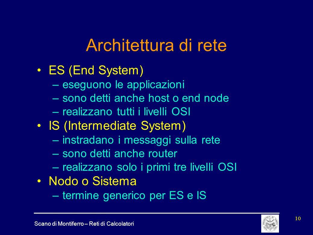 Scano di Montiferro – Reti di Calcolatori 10 Architettura di rete ES (End System) –eseguono le applicazioni –sono detti anche host o end node –realizz