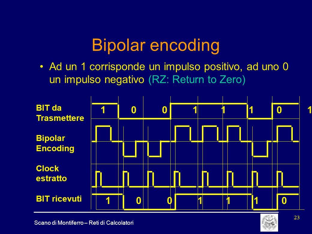 Scano di Montiferro – Reti di Calcolatori 23 Bipolar encoding 1 0 0 1 1 1 0 1 Ad un 1 corrisponde un impulso positivo, ad uno 0 un impulso negativo (R