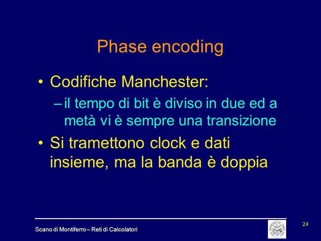 Scano di Montiferro – Reti di Calcolatori 24 Phase encoding Codifiche Manchester: –il tempo di bit è diviso in due ed a metà vi è sempre una transizio