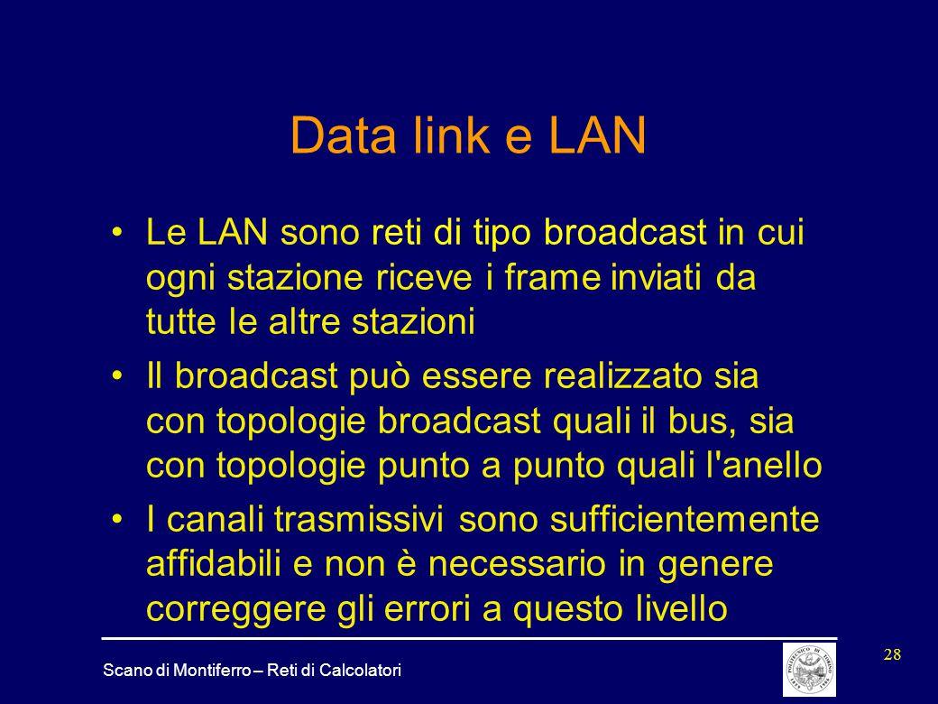 Scano di Montiferro – Reti di Calcolatori 28 Data link e LAN Le LAN sono reti di tipo broadcast in cui ogni stazione riceve i frame inviati da tutte l