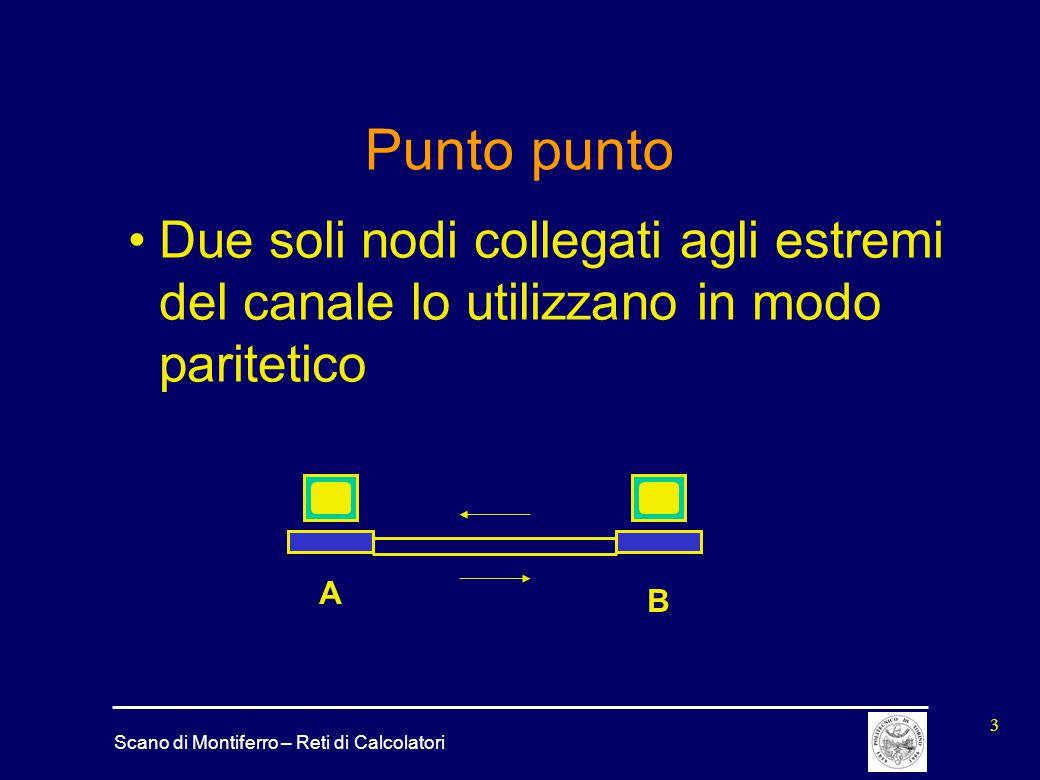 Scano di Montiferro – Reti di Calcolatori 3 Punto punto Due soli nodi collegati agli estremi del canale lo utilizzano in modo paritetico A B