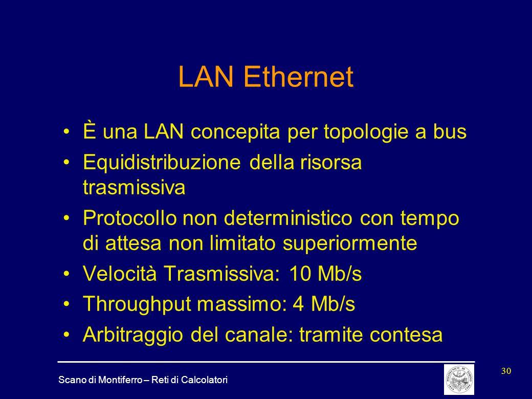Scano di Montiferro – Reti di Calcolatori 30 LAN Ethernet È una LAN concepita per topologie a bus Equidistribuzione della risorsa trasmissiva Protocol