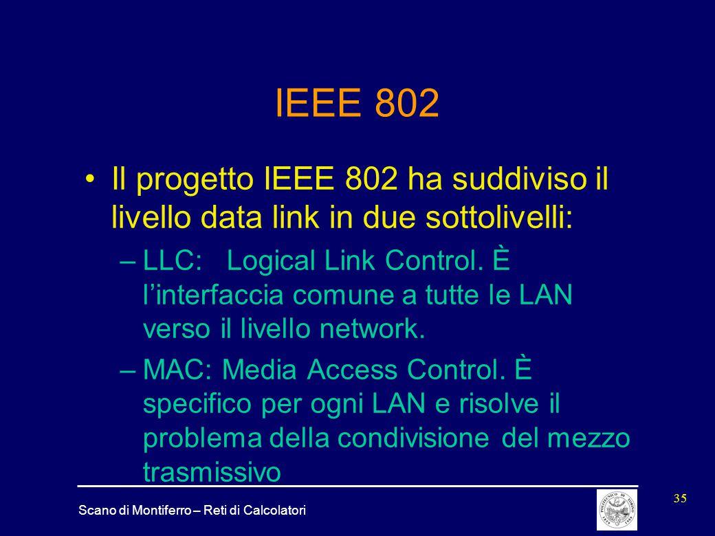 Scano di Montiferro – Reti di Calcolatori 35 IEEE 802 Il progetto IEEE 802 ha suddiviso il livello data link in due sottolivelli: –LLC: Logical Link C