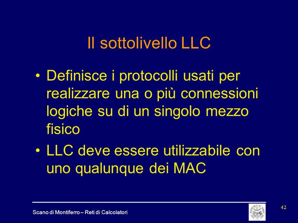 Scano di Montiferro – Reti di Calcolatori 42 Il sottolivello LLC Definisce i protocolli usati per realizzare una o più connessioni logiche su di un si