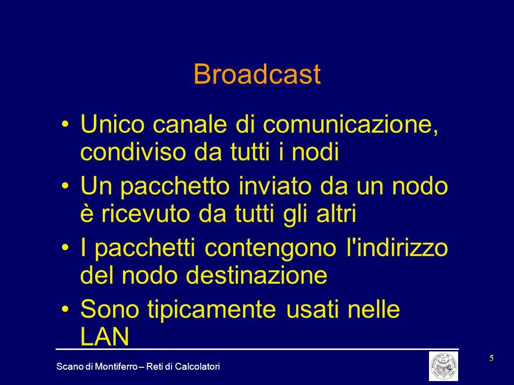 Scano di Montiferro – Reti di Calcolatori 5 Broadcast Unico canale di comunicazione, condiviso da tutti i nodi Un pacchetto inviato da un nodo è ricev