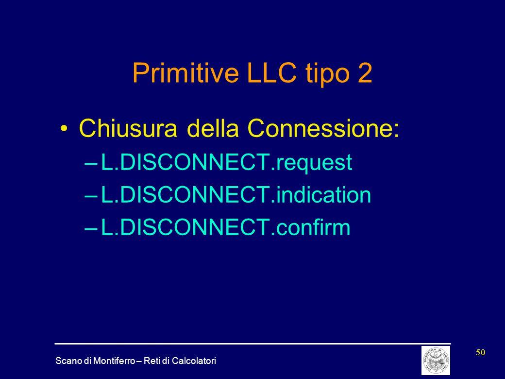 Scano di Montiferro – Reti di Calcolatori 50 Primitive LLC tipo 2 Chiusura della Connessione: –L.DISCONNECT.request –L.DISCONNECT.indication –L.DISCON