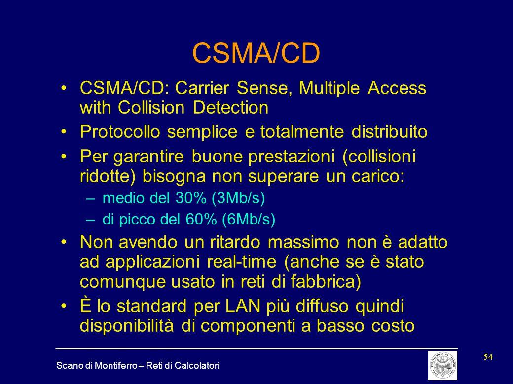 Scano di Montiferro – Reti di Calcolatori 54 CSMA/CD CSMA/CD: Carrier Sense, Multiple Access with Collision Detection Protocollo semplice e totalmente