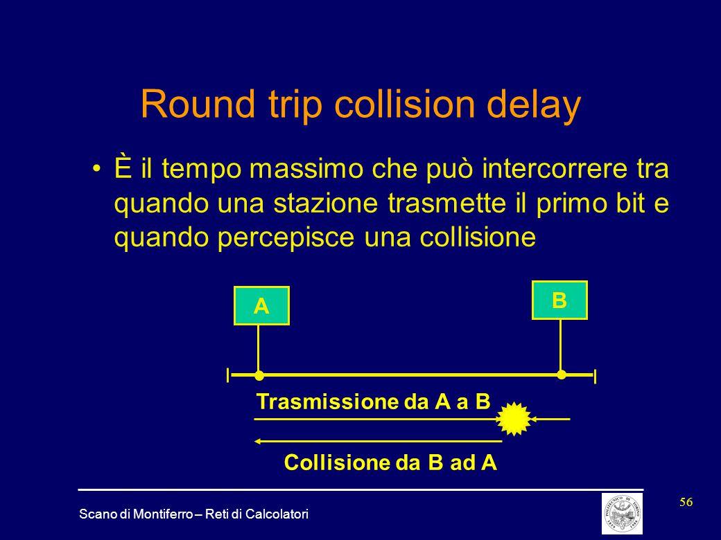 Scano di Montiferro – Reti di Calcolatori 56 Round trip collision delay È il tempo massimo che può intercorrere tra quando una stazione trasmette il p