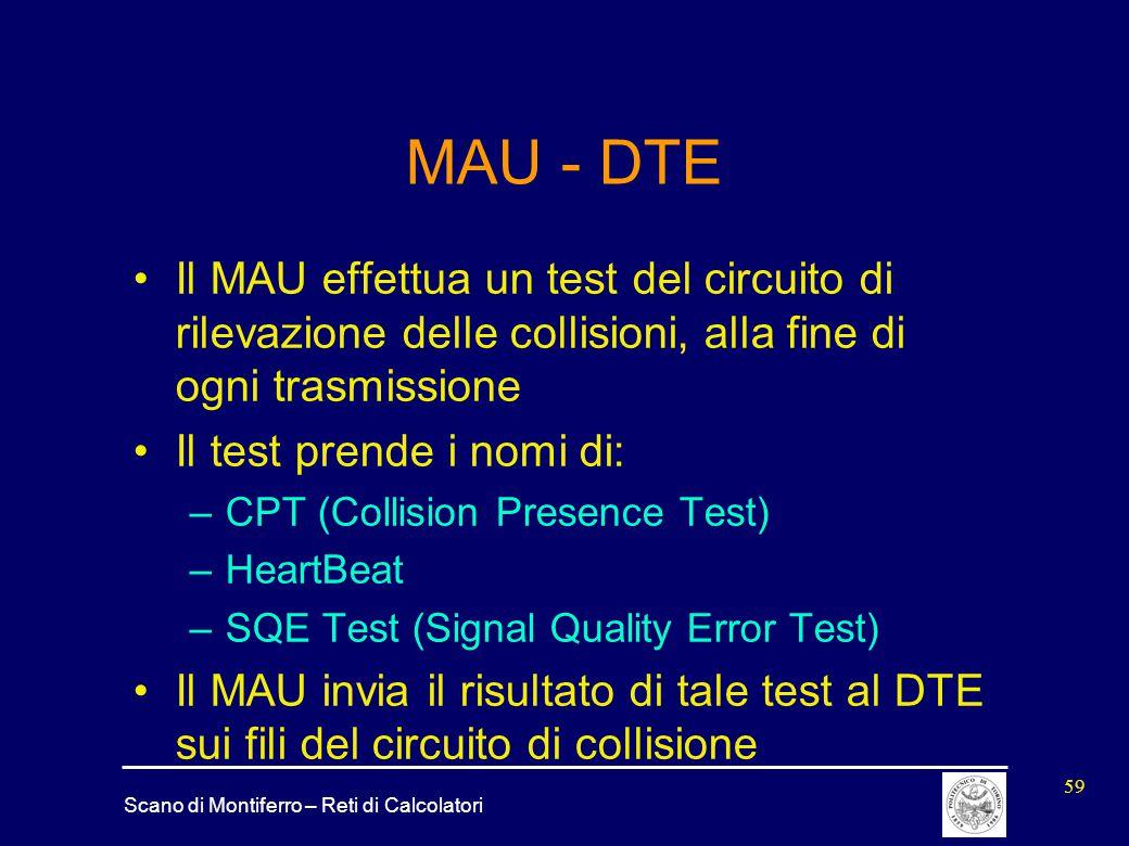 Scano di Montiferro – Reti di Calcolatori 59 MAU - DTE Il MAU effettua un test del circuito di rilevazione delle collisioni, alla fine di ogni trasmis