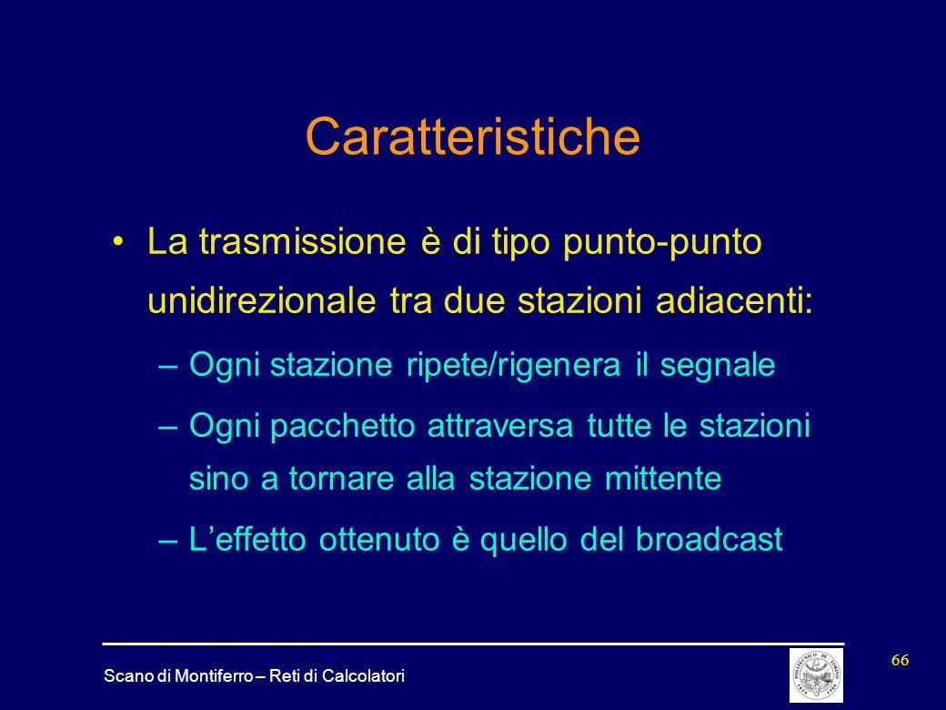 Scano di Montiferro – Reti di Calcolatori 66 Caratteristiche La trasmissione è di tipo punto-punto unidirezionale tra due stazioni adiacenti: –Ogni st