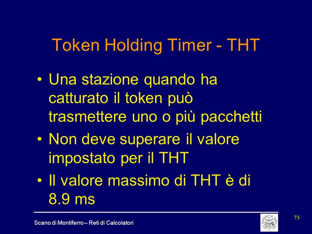 Scano di Montiferro – Reti di Calcolatori 73 Token Holding Timer - THT Una stazione quando ha catturato il token può trasmettere uno o più pacchetti N