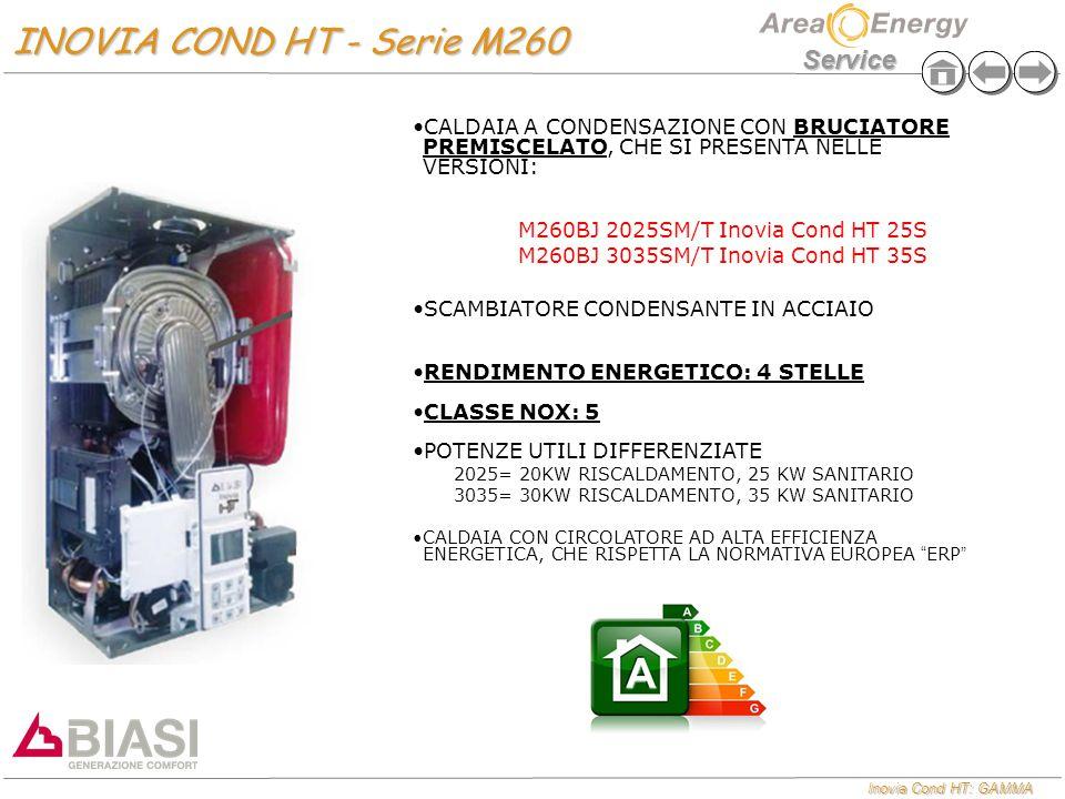 Inovia Cond HT: GAMMA Service INOVIA COND HT - Serie M260 INOVIA COND HT - Serie M260 CALDAIA A CONDENSAZIONE CON BRUCIATORE PREMISCELATO, CHE SI PRES