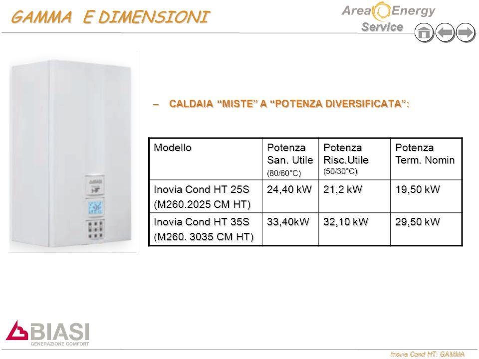 """Inovia Cond HT: GAMMA Service GAMMA E DIMENSIONI –CALDAIA """"MISTE"""" A """"POTENZA DIVERSIFICATA"""": Modello Potenza San. Utile (80/60°C) Potenza Risc.Utile ("""