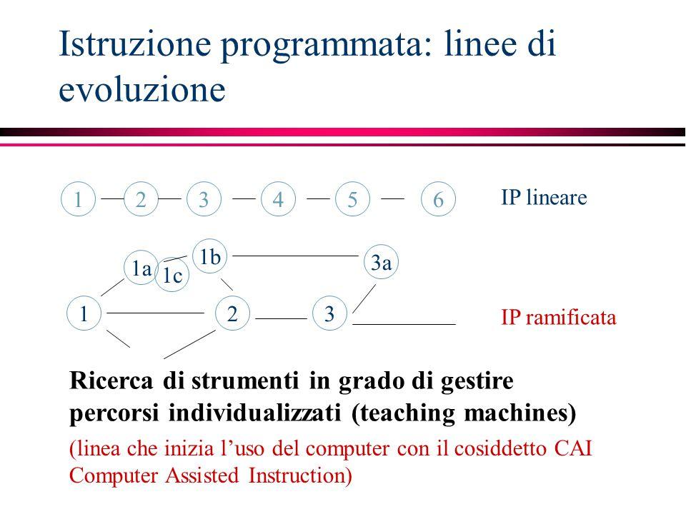 Istruzione programmata: linee di evoluzione 123456 1 1b 2 1c 1a 3a 3 IP lineare IP ramificata Ricerca di strumenti in grado di gestire percorsi indivi