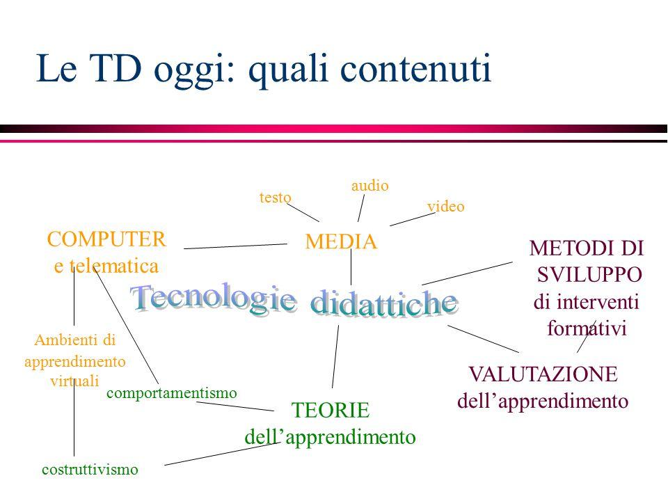 Le TD oggi: quali contenuti MEDIA Ambienti di apprendimento virtuali VALUTAZIONE dell'apprendimento METODI DI SVILUPPO di interventi formativi COMPUTER e telematica TEORIE dell'apprendimento comportamentismo costruttivismo testo audio video