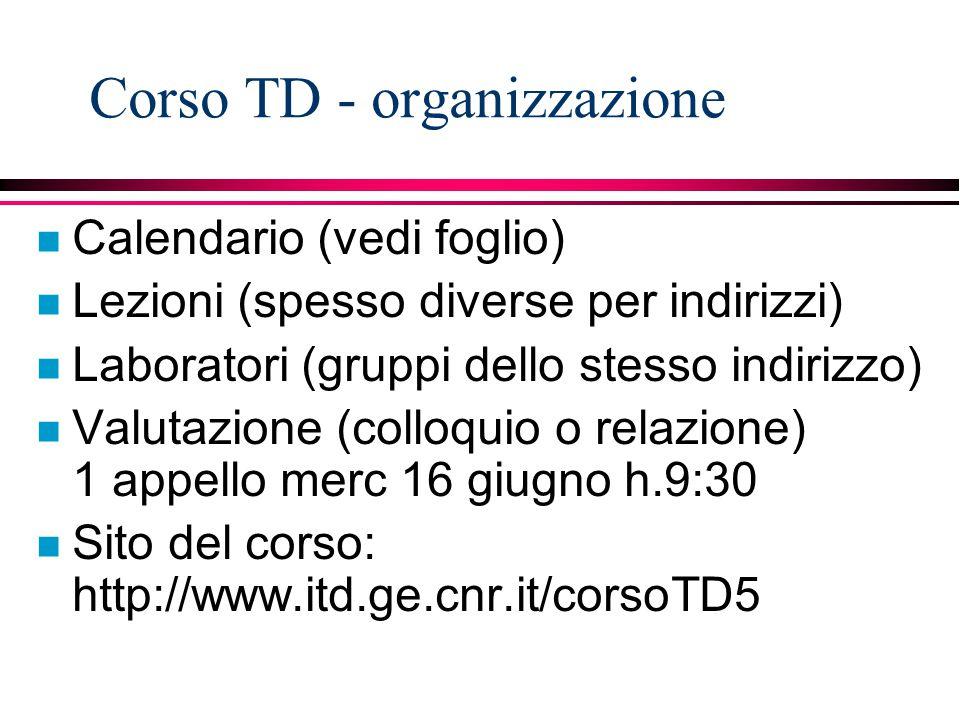 Corso TD - organizzazione n Calendario (vedi foglio) n Lezioni (spesso diverse per indirizzi) n Laboratori (gruppi dello stesso indirizzo) n Valutazio