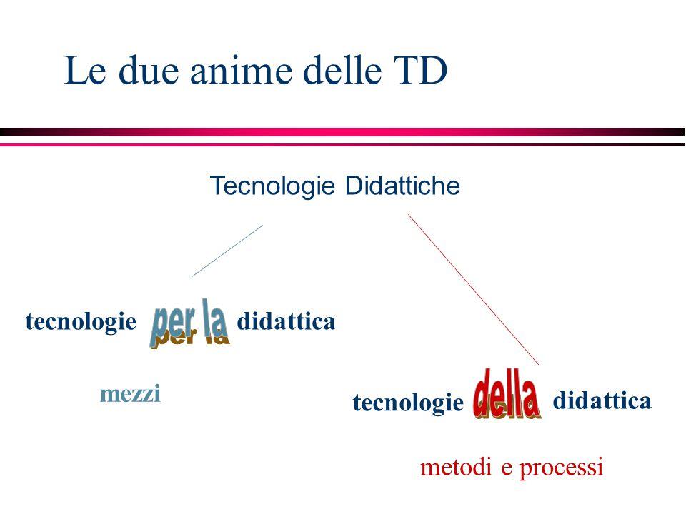 Tecnologie Didattiche mezzi metodi e processi tecnologie didattica tecnologie didattica Le due anime delle TD