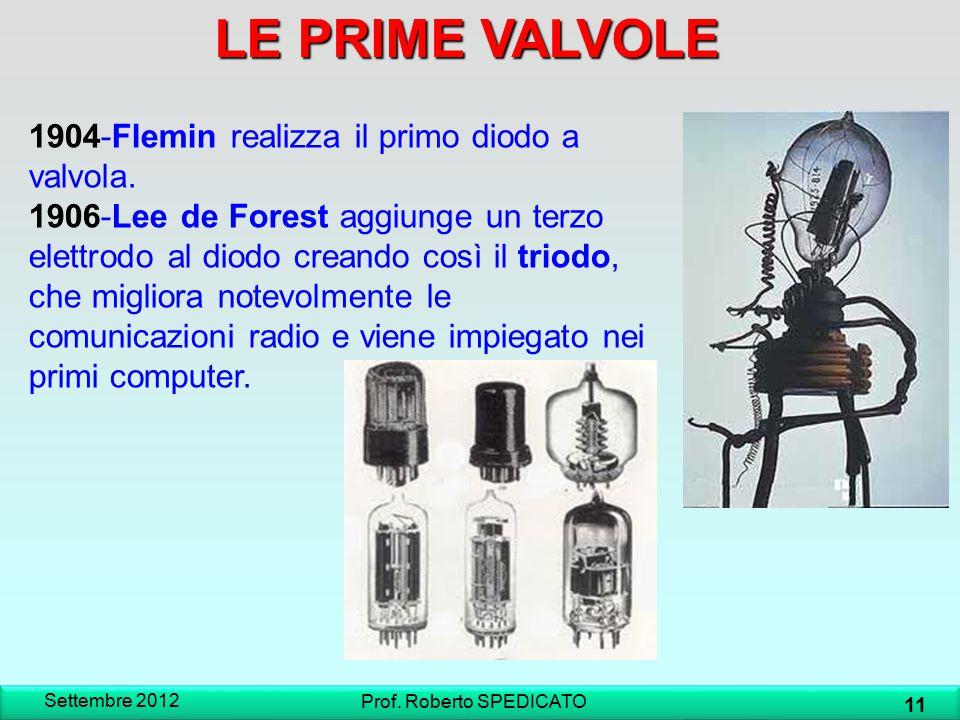 1904-Flemin realizza il primo diodo a valvola. 1906-Lee de Forest aggiunge un terzo elettrodo al diodo creando così il triodo, che migliora notevolmen