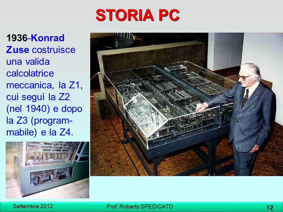 STORIA PC 1936-Konrad Zuse costruisce una valida calcolatrice meccanica, la Z1, cui seguì la Z2 (nel 1940) e dopo la Z3 (program- mabile) e la Z4. Set