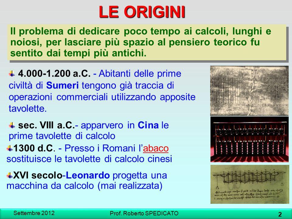 IL PRIMO MOUSE Settembre 2012 33 Prof.Roberto SPEDICATO 1967- L ideatore è Douglas Engelbart.